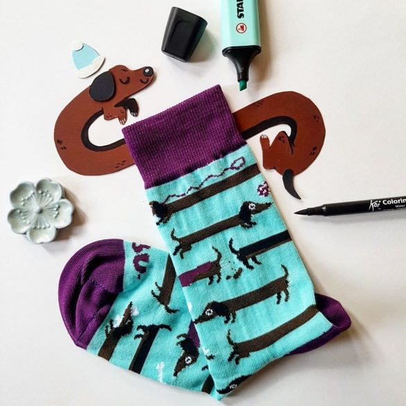 Tacskó csíkos női zokni